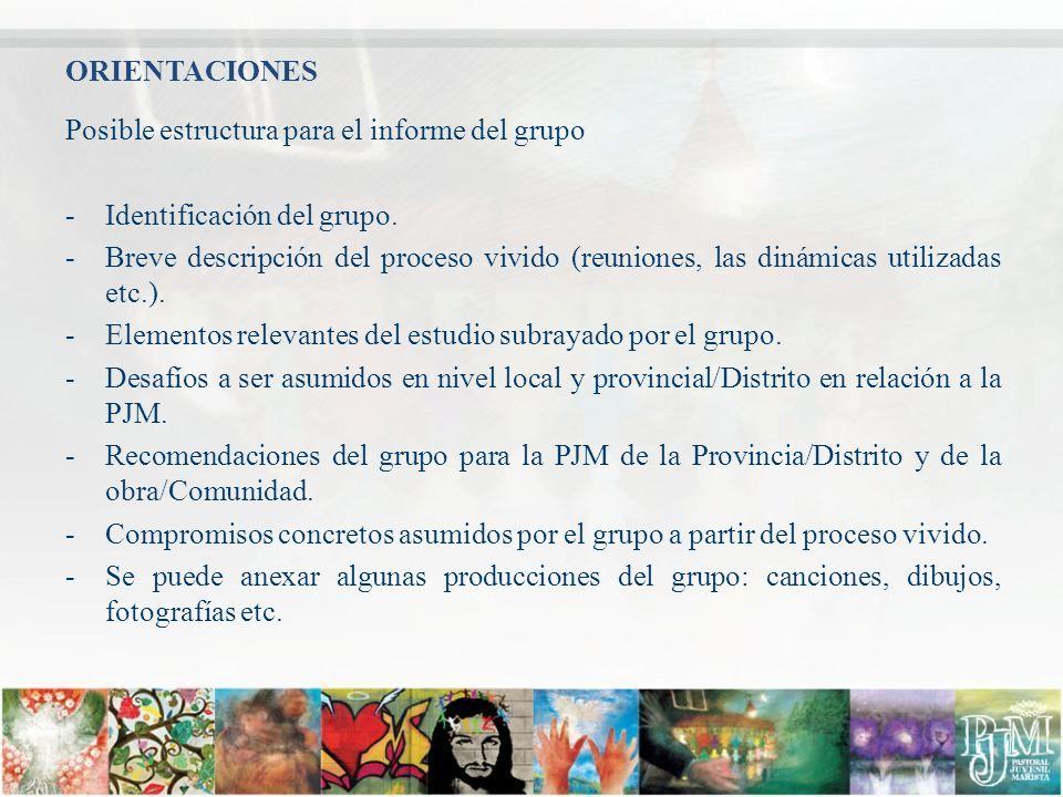 ORIENTACIONES Posible estructura para el informe del grupo. Identificación del grupo.