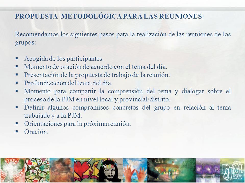 PROPUESTA METODOLÓGICA PARA LAS REUNIONES: