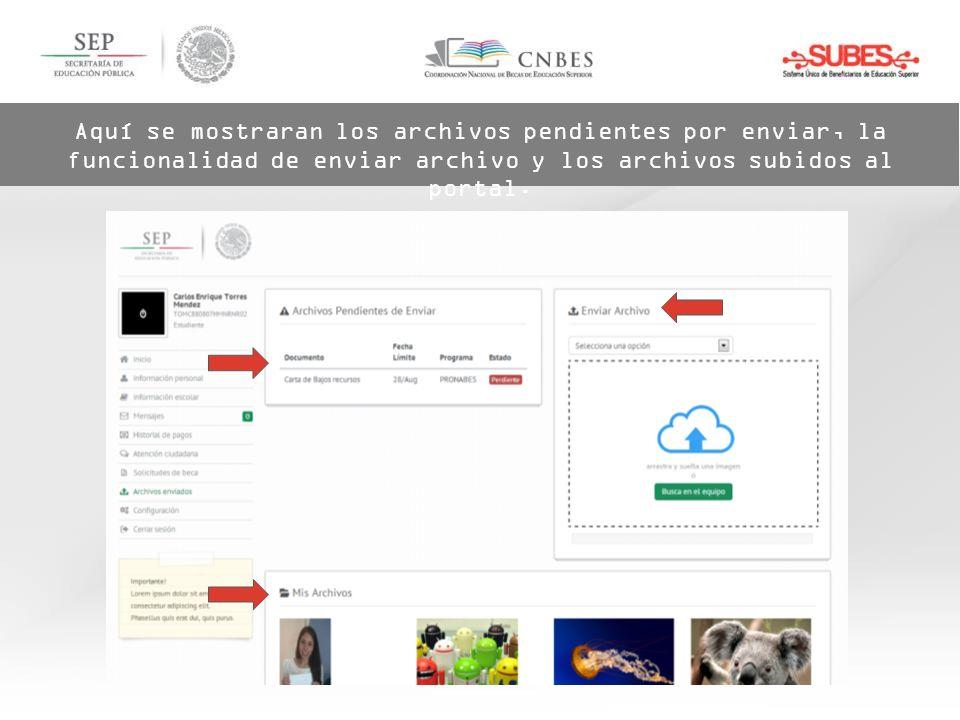 Aquí se mostraran los archivos pendientes por enviar, la funcionalidad de enviar archivo y los archivos subidos al portal.