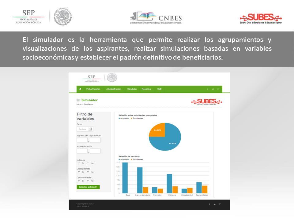 El simulador es la herramienta que permite realizar los agrupamientos y visualizaciones de los aspirantes, realizar simulaciones basadas en variables socioeconómicas y establecer el padrón definitivo de beneficiarios.