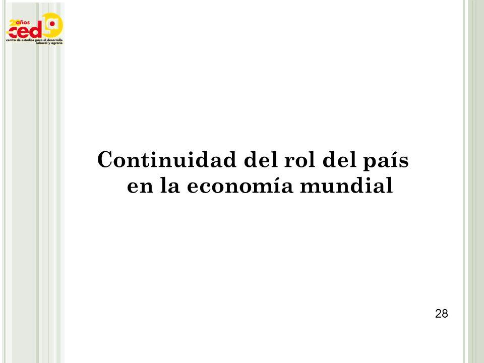 Continuidad del rol del país en la economía mundial