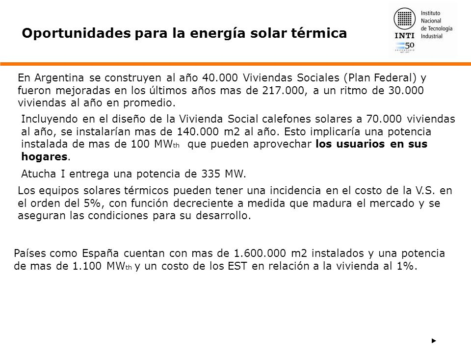 Oportunidades para la energía solar térmica