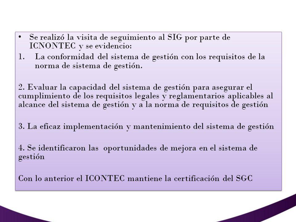 Se realizó la visita de seguimiento al SIG por parte de ICNONTEC y se evidencio: