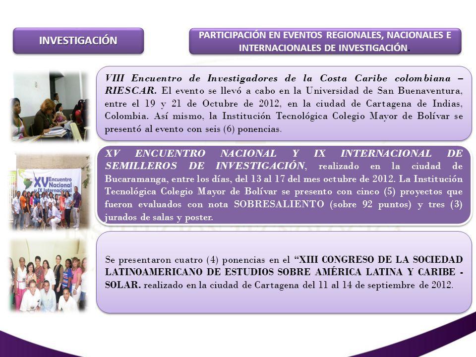 INVESTIGACIÓN PARTICIPACIÓN EN EVENTOS REGIONALES, NACIONALES E INTERNACIONALES DE INVESTIGACIÓN.