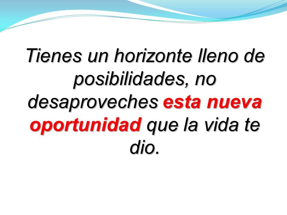 Tienes un horizonte lleno de posibilidades, no desaproveches esta nueva oportunidad que la vida te dio.