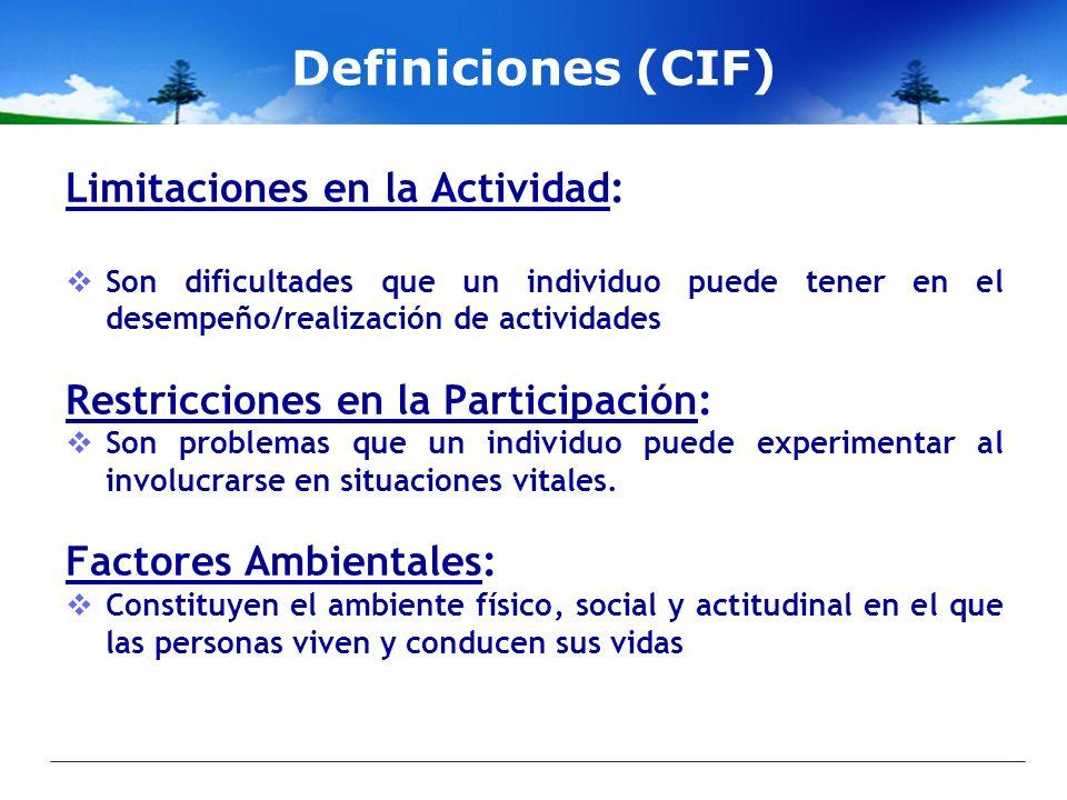 Definiciones (CIF) Limitaciones en la Actividad: