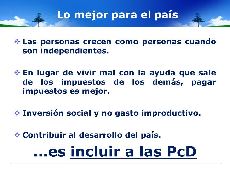 …es incluir a las PcD Lo mejor para el país