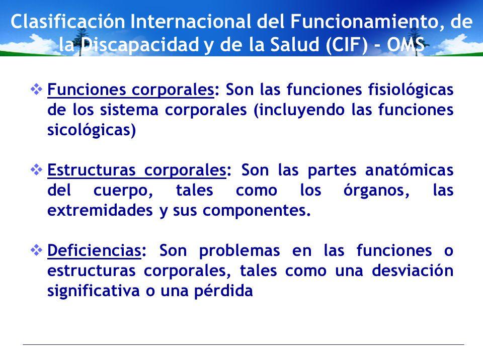 Clasificación Internacional del Funcionamiento, de la Discapacidad y de la Salud (CIF) - OMS
