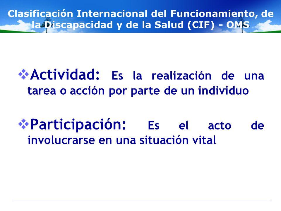 Participación: Es el acto de involucrarse en una situación vital