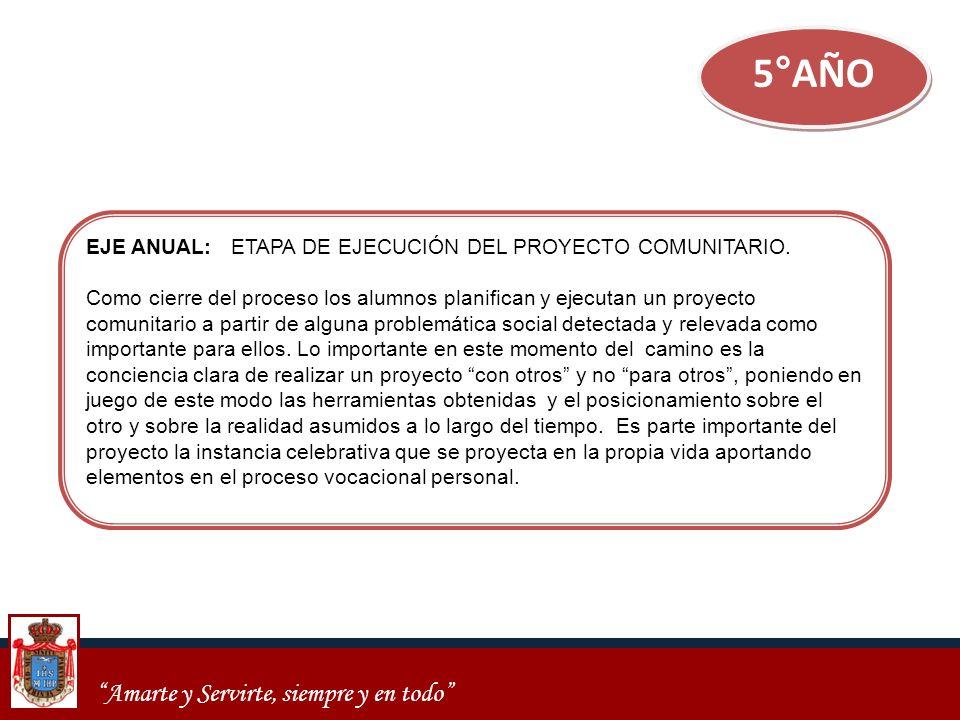 5°AÑO EJE ANUAL: ETAPA DE EJECUCIÓN DEL PROYECTO COMUNITARIO.