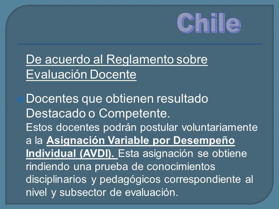 Chile De acuerdo al Reglamento sobre Evaluación Docente