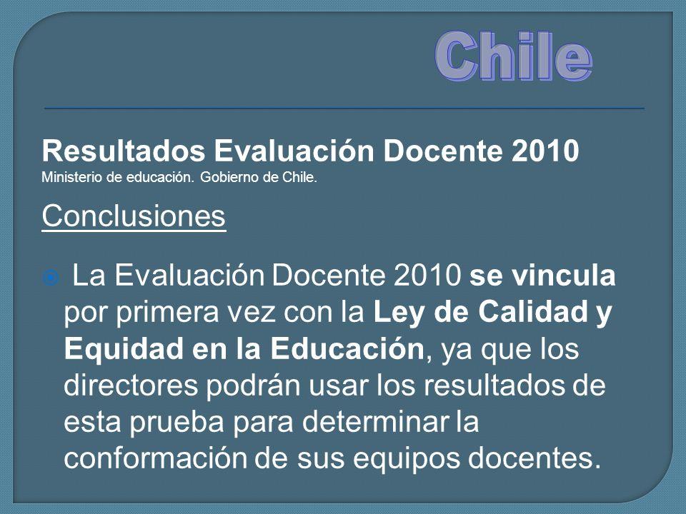 Chile Resultados Evaluación Docente 2010 Conclusiones