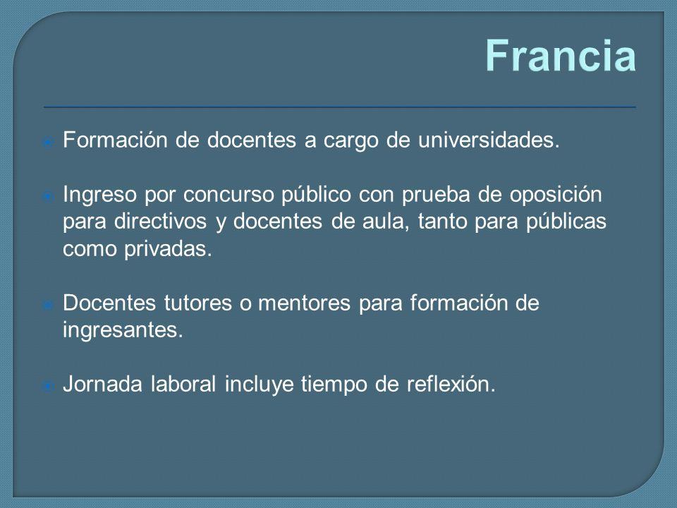 Francia Formación de docentes a cargo de universidades.