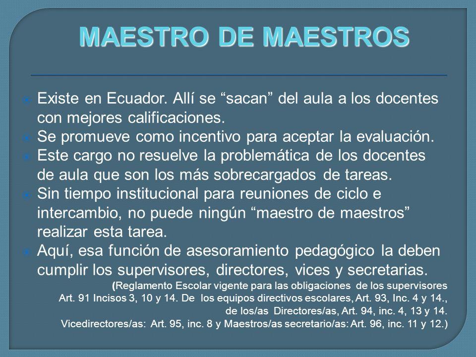 MAESTRO DE MAESTROS Existe en Ecuador. Allí se sacan del aula a los docentes con mejores calificaciones.