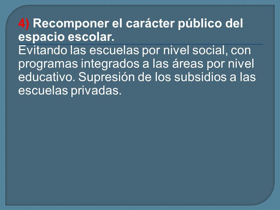 4) Recomponer el carácter público del espacio escolar.