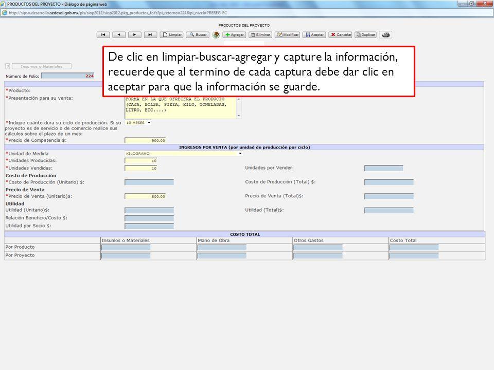 De clic en limpiar-buscar-agregar y capture la información, recuerde que al termino de cada captura debe dar clic en aceptar para que la información se guarde.
