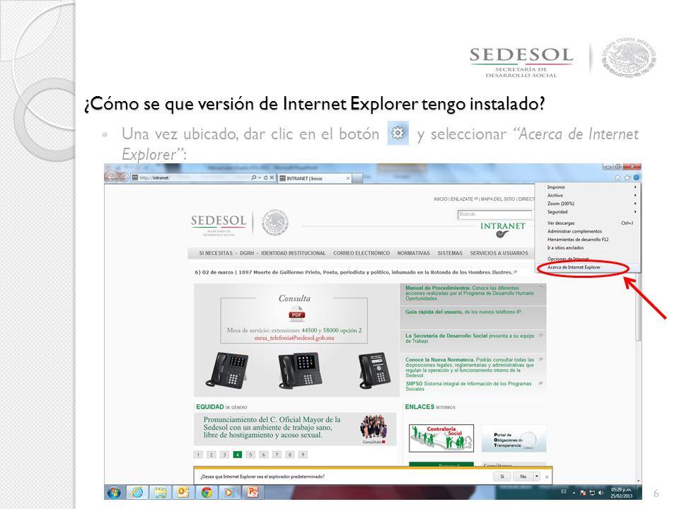 ¿Cómo se que versión de Internet Explorer tengo instalado