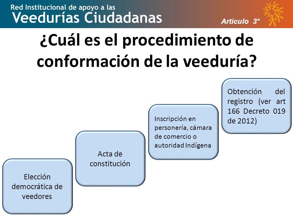 ¿Cuál es el procedimiento de conformación de la veeduría