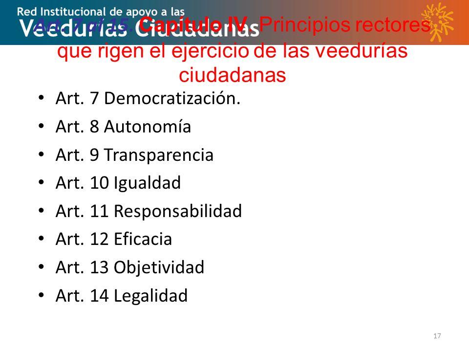 Art. 7 al 15. Capítulo IV. Principios rectores que rigen el ejercicio de las veedurías ciudadanas