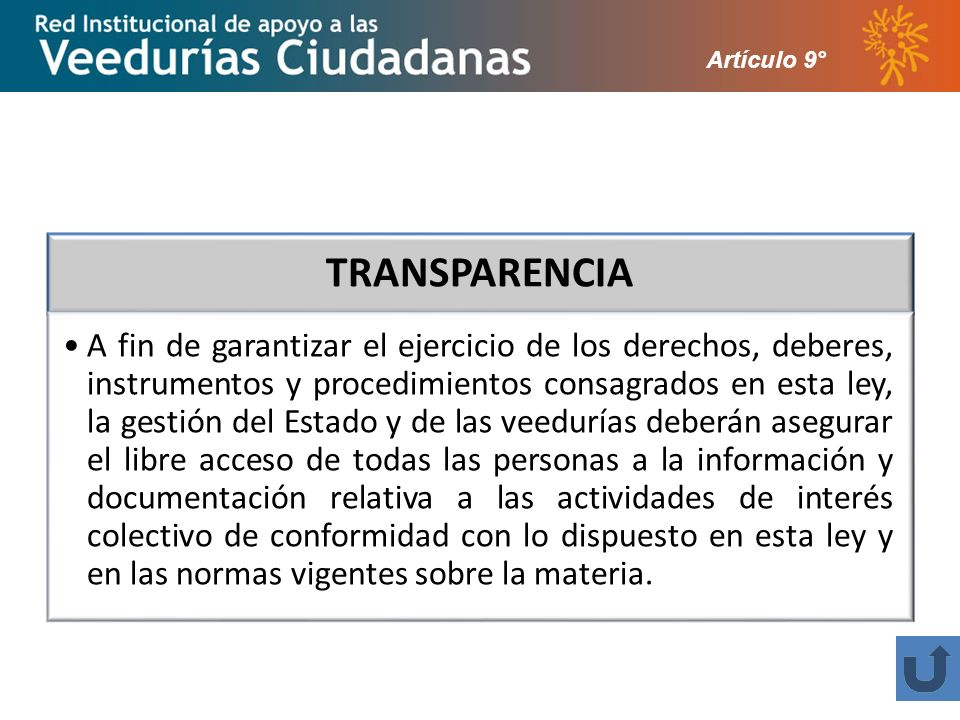 Artículo 9° TRANSPARENCIA.