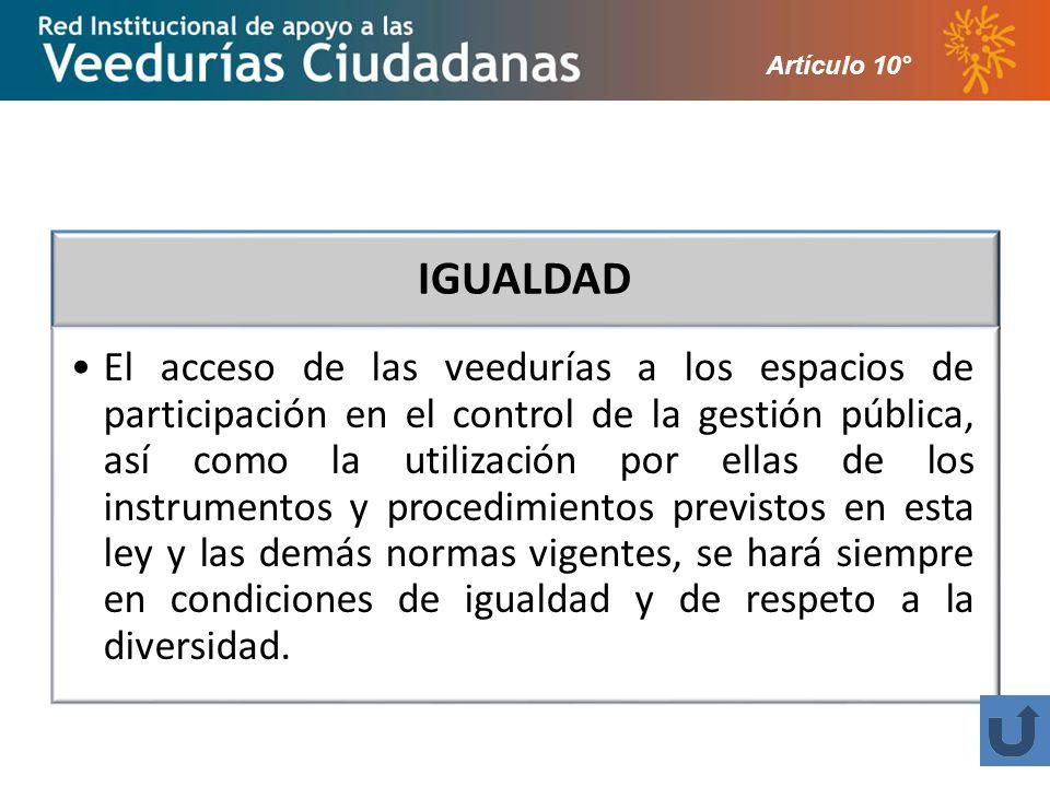 Artículo 10° IGUALDAD.