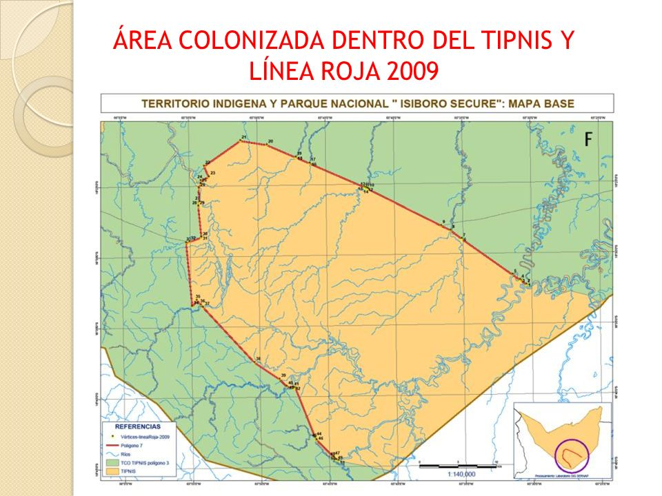 ÁREA COLONIZADA DENTRO DEL TIPNIS Y LÍNEA ROJA 2009