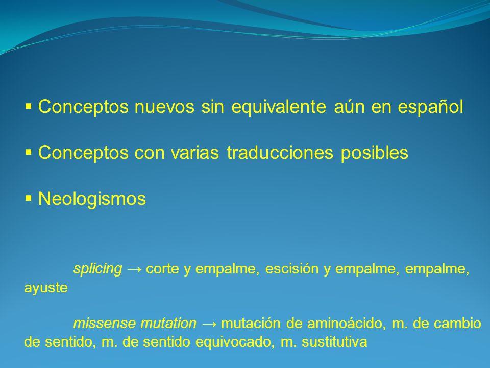 Conceptos nuevos sin equivalente aún en español