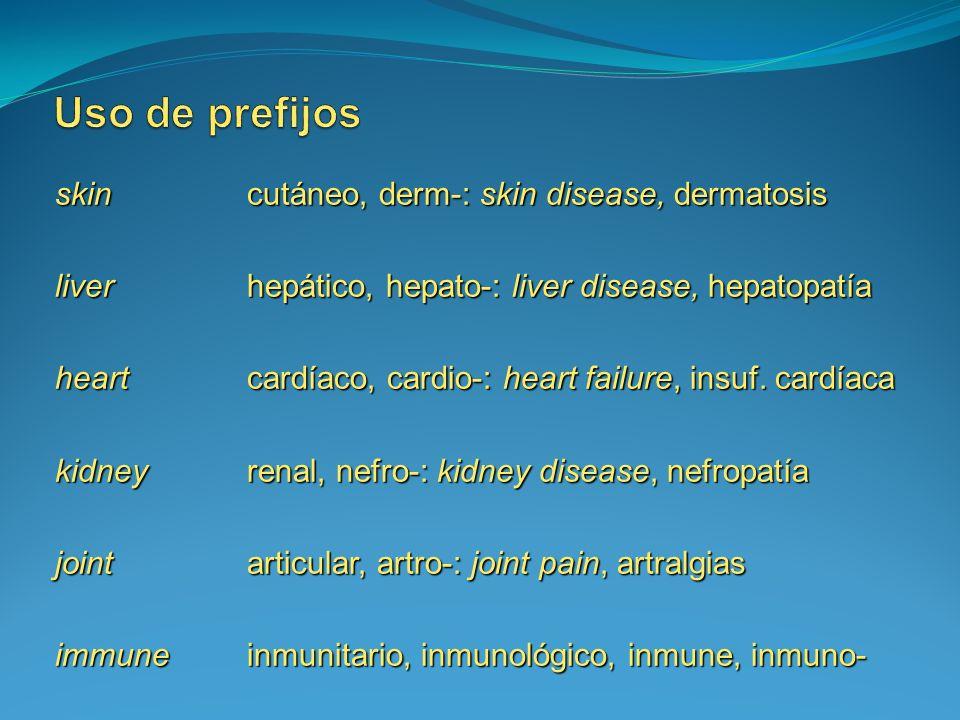 Uso de prefijos skin cutáneo, derm-: skin disease, dermatosis
