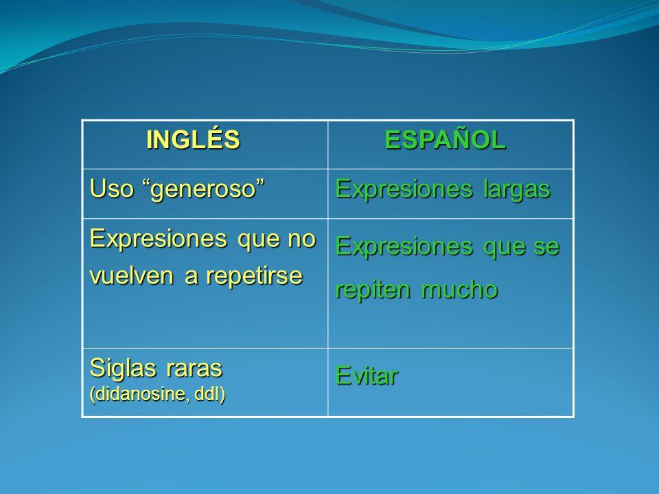 INGLÉS ESPAÑOL. Uso generoso Expresiones largas. Expresiones que no. vuelven a repetirse. Expresiones que se repiten mucho.