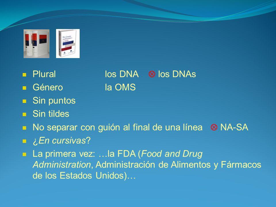 Plural los DNA  los DNAs