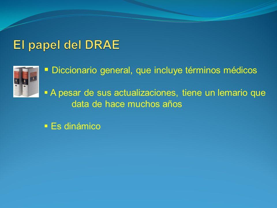 El papel del DRAE Diccionario general, que incluye términos médicos