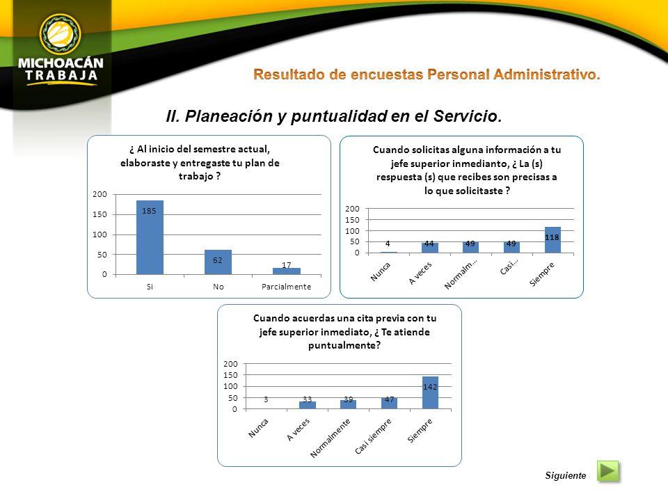 II. Planeación y puntualidad en el Servicio.