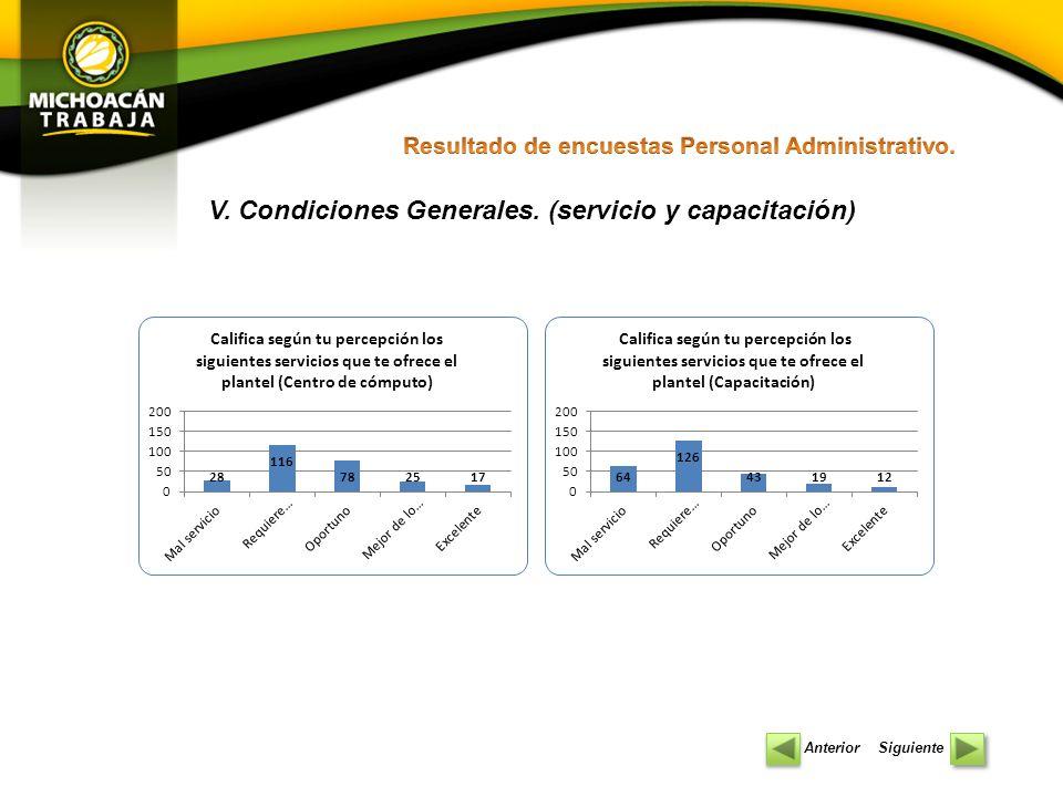 V. Condiciones Generales. (servicio y capacitación)