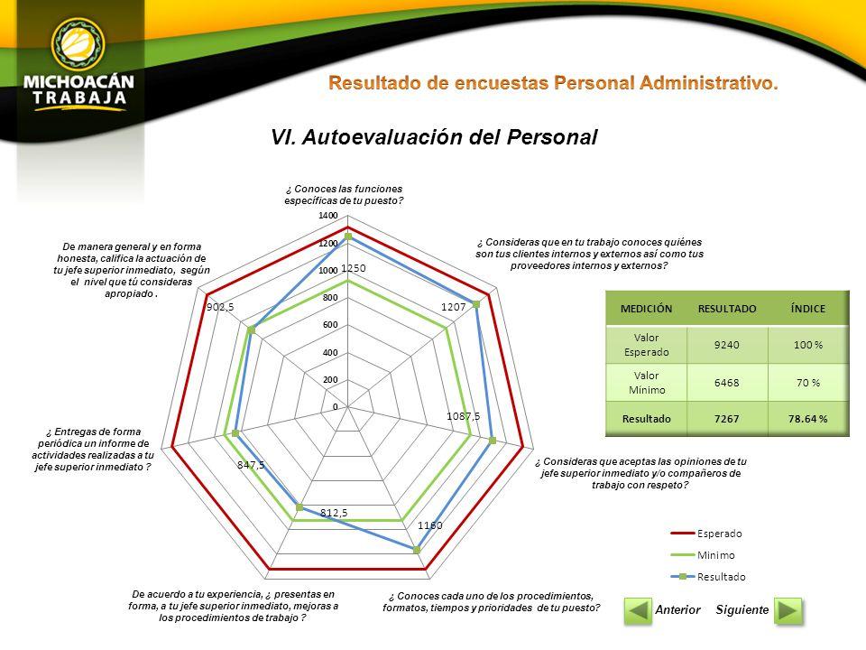 VI. Autoevaluación del Personal