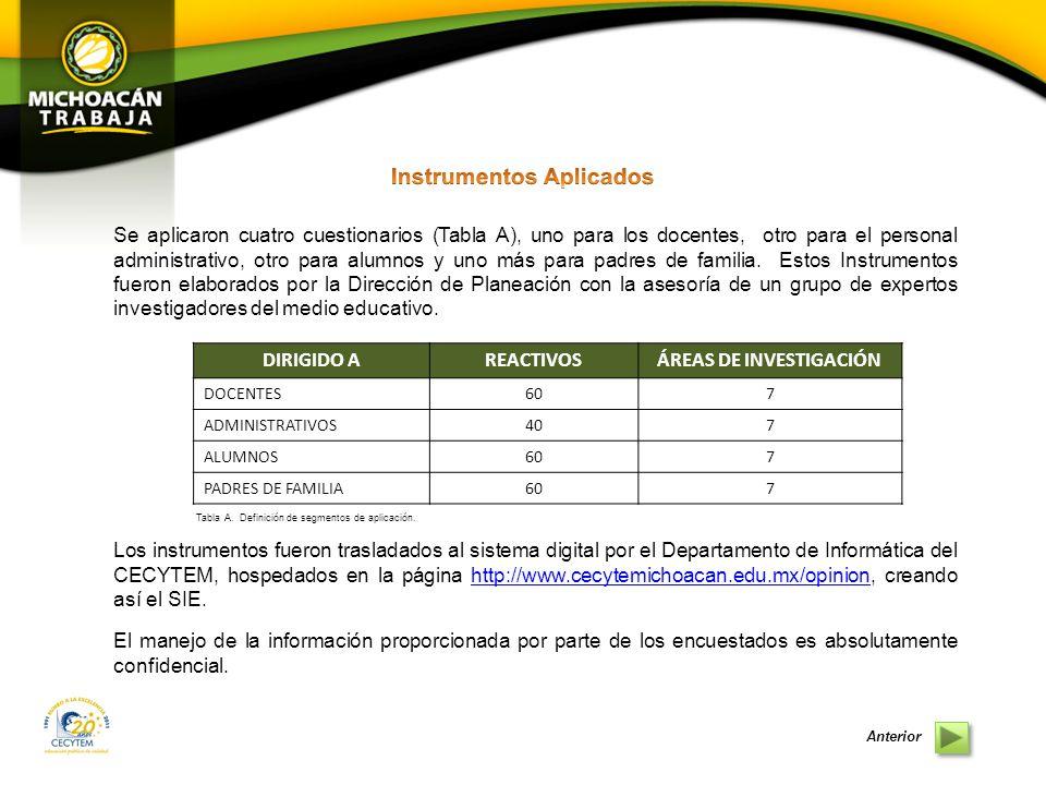 Instrumentos Aplicados ÁREAS DE INVESTIGACIÓN