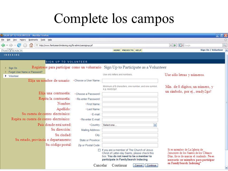 Complete los campos Regístrese para participar como un voluntario