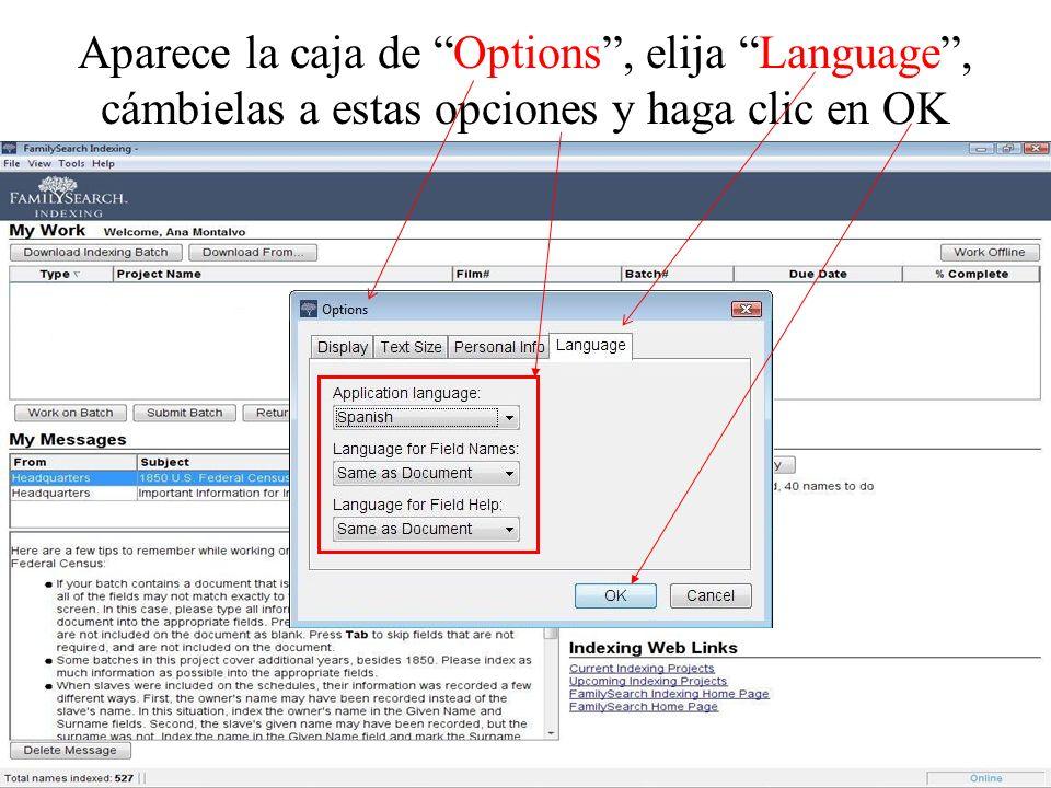 Aparece la caja de Options , elija Language , cámbielas a estas opciones y haga clic en OK