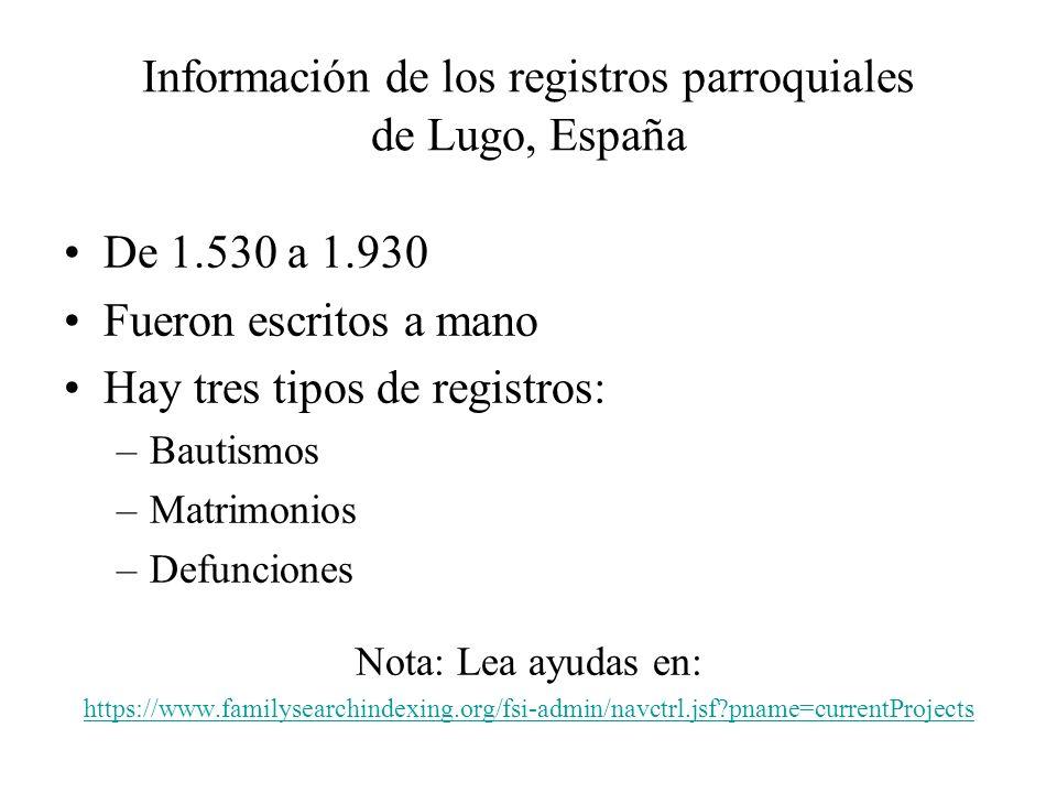 Información de los registros parroquiales de Lugo, España
