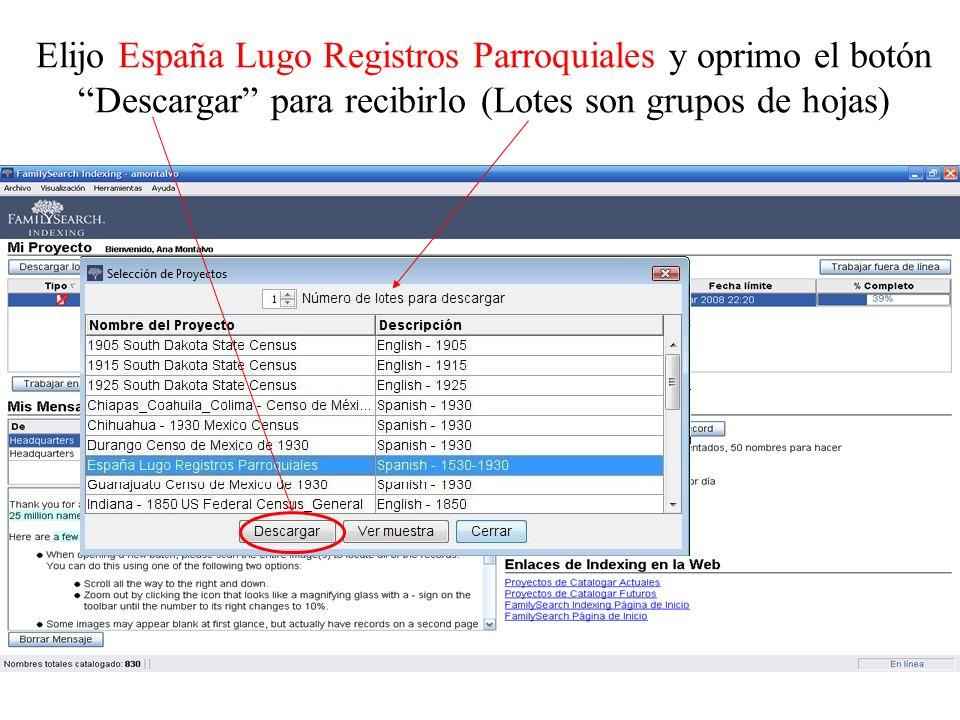 Elijo España Lugo Registros Parroquiales y oprimo el botón Descargar para recibirlo (Lotes son grupos de hojas)
