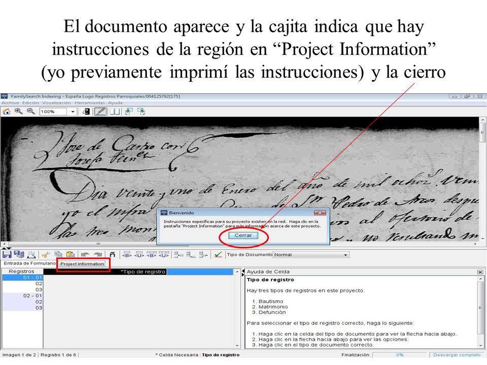 El documento aparece y la cajita indica que hay instrucciones de la región en Project Information (yo previamente imprimí las instrucciones) y la cierro