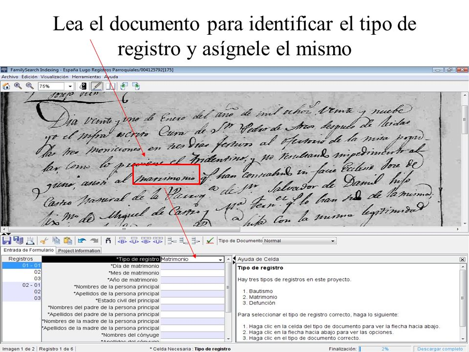 Lea el documento para identificar el tipo de registro y asígnele el mismo