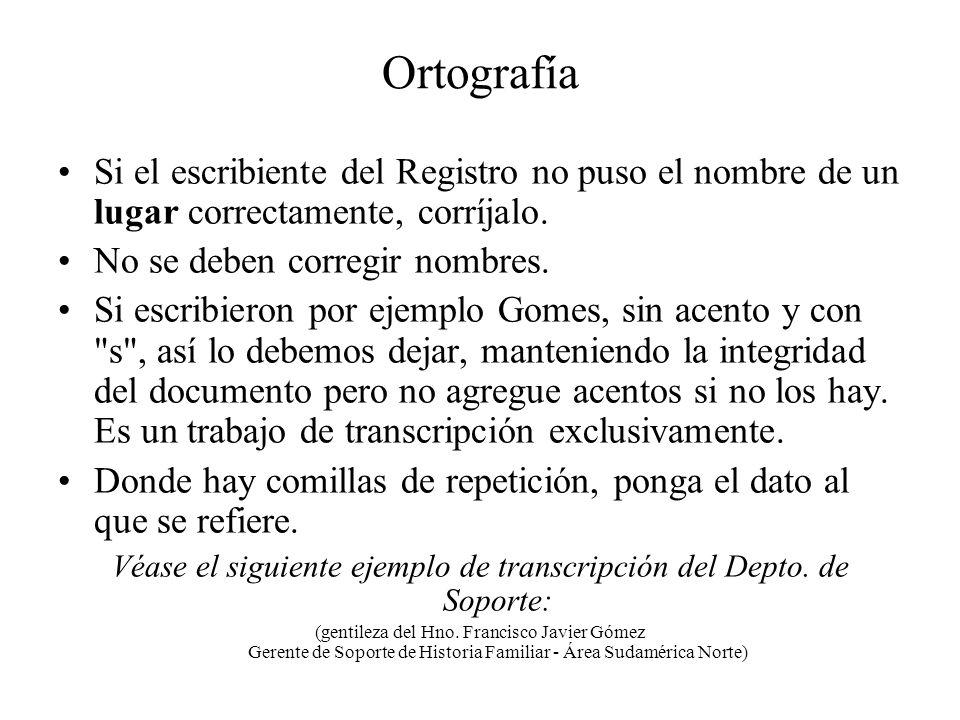 Véase el siguiente ejemplo de transcripción del Depto. de Soporte: