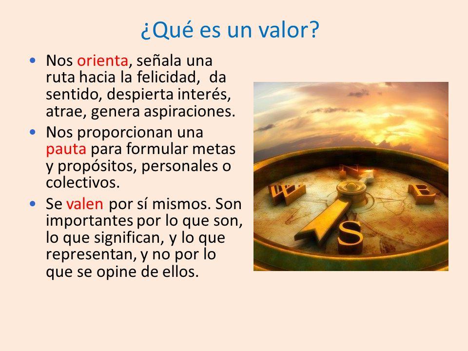 ¿Qué es un valor Nos orienta, señala una ruta hacia la felicidad, da sentido, despierta interés, atrae, genera aspiraciones.