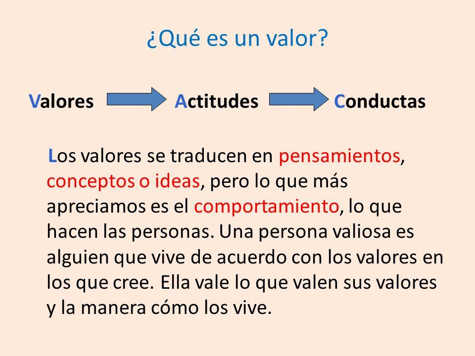 ¿Qué es un valor Valores Actitudes Conductas