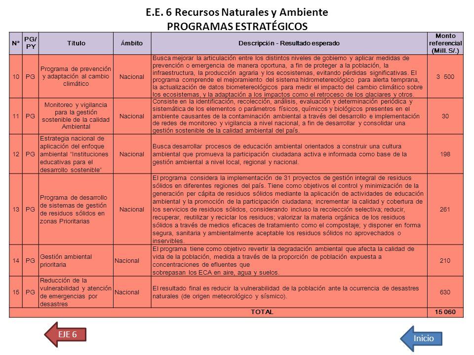 E.E. 6 Recursos Naturales y Ambiente PROGRAMAS ESTRATÉGICOS