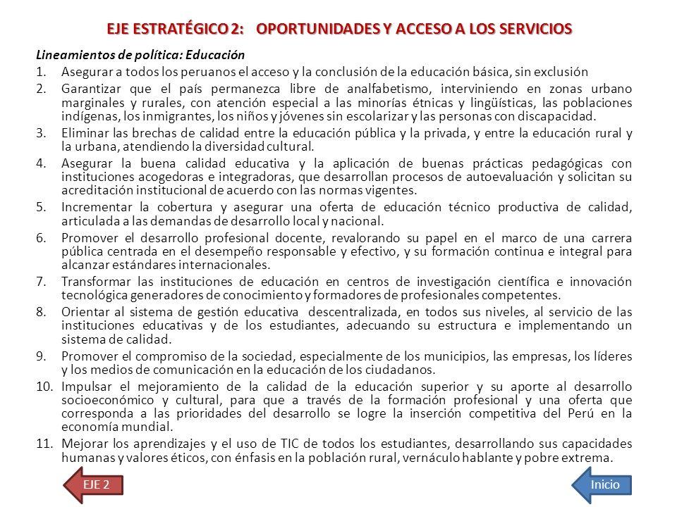 EJE ESTRATÉGICO 2: OPORTUNIDADES Y ACCESO A LOS SERVICIOS
