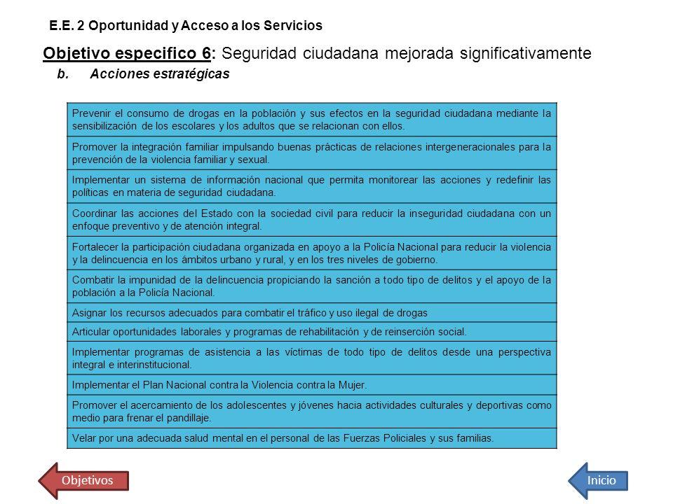 Objetivo especifico 6: Seguridad ciudadana mejorada significativamente