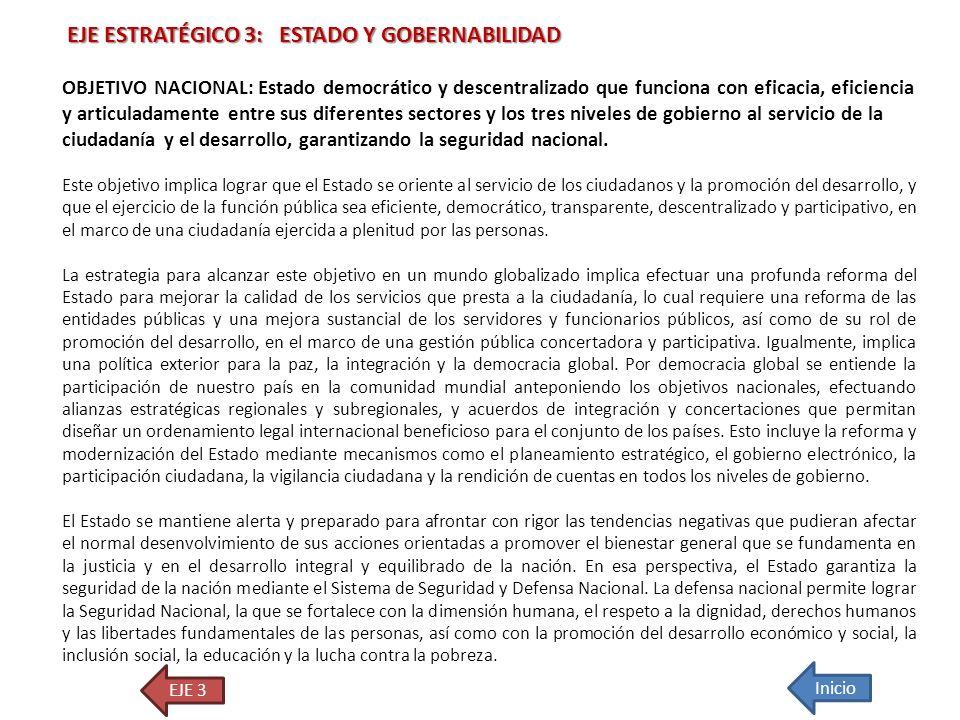 EJE ESTRATÉGICO 3: ESTADO Y GOBERNABILIDAD