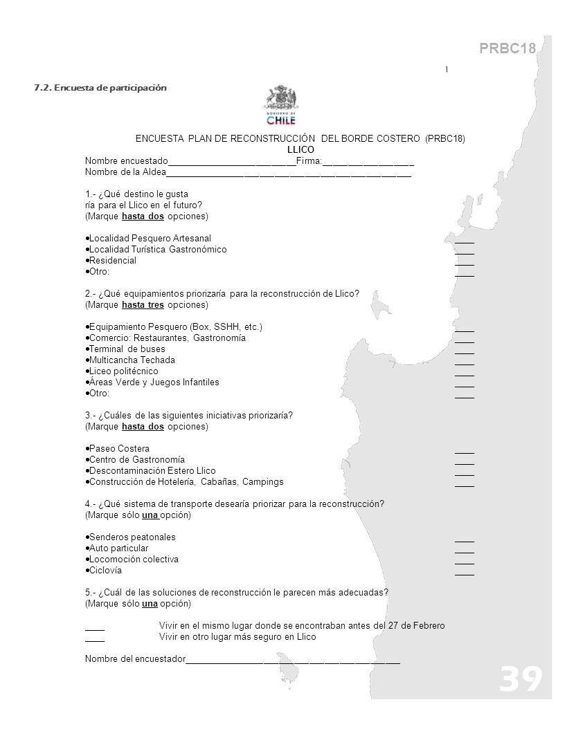 ENCUESTA PLAN DE RECONSTRUCCIÓN DEL BORDE COSTERO (PRBC18)