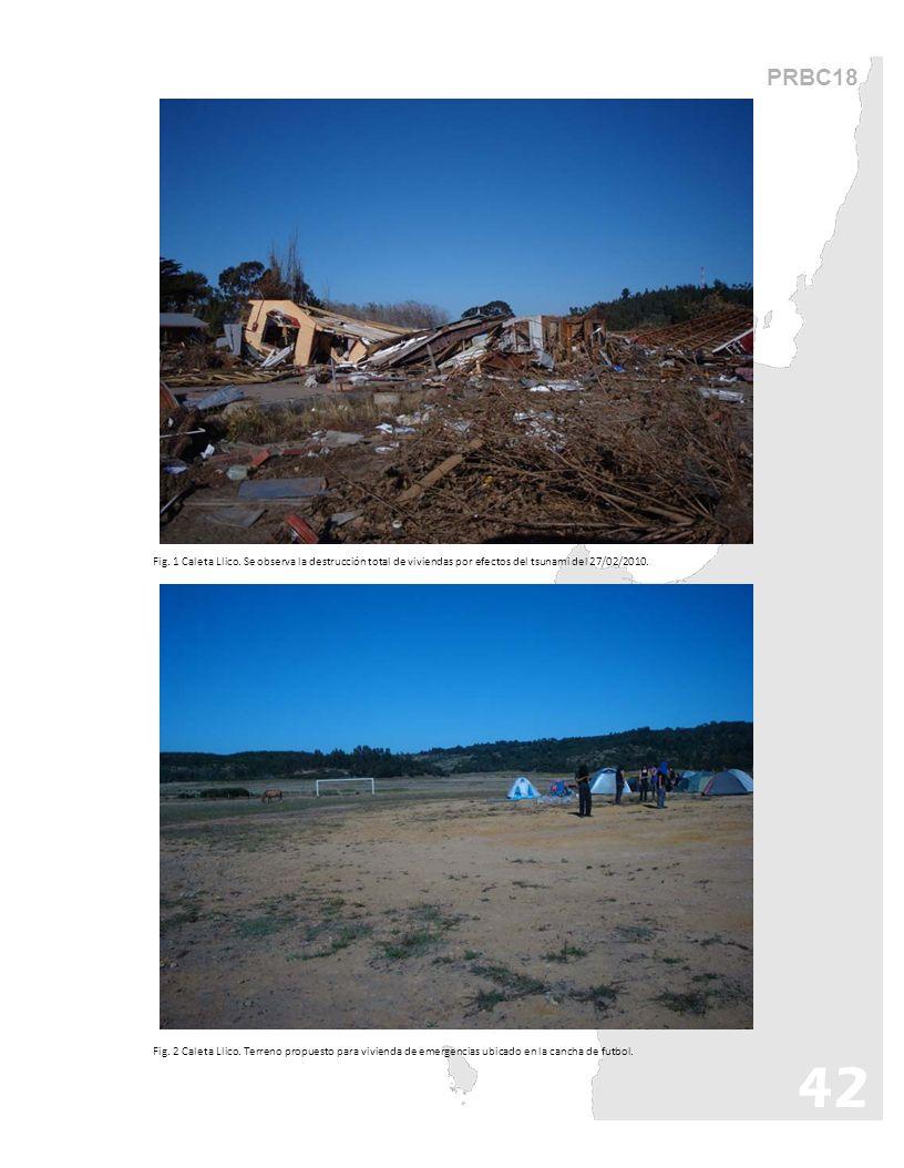 PRBC18 Fig. 1 Caleta Llico. Se observa la destrucción total de viviendas por efectos del tsunami del 27/02/2010.
